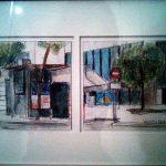 Díptico de paisaje Urbano de Sevilla pintado por victoria medina profesora de la escuela de dibujo y pintura artemusas