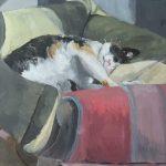 Retrato del gato Psique pintado por victoria medina profesora de la escuela de dibujo y pintura artemusas