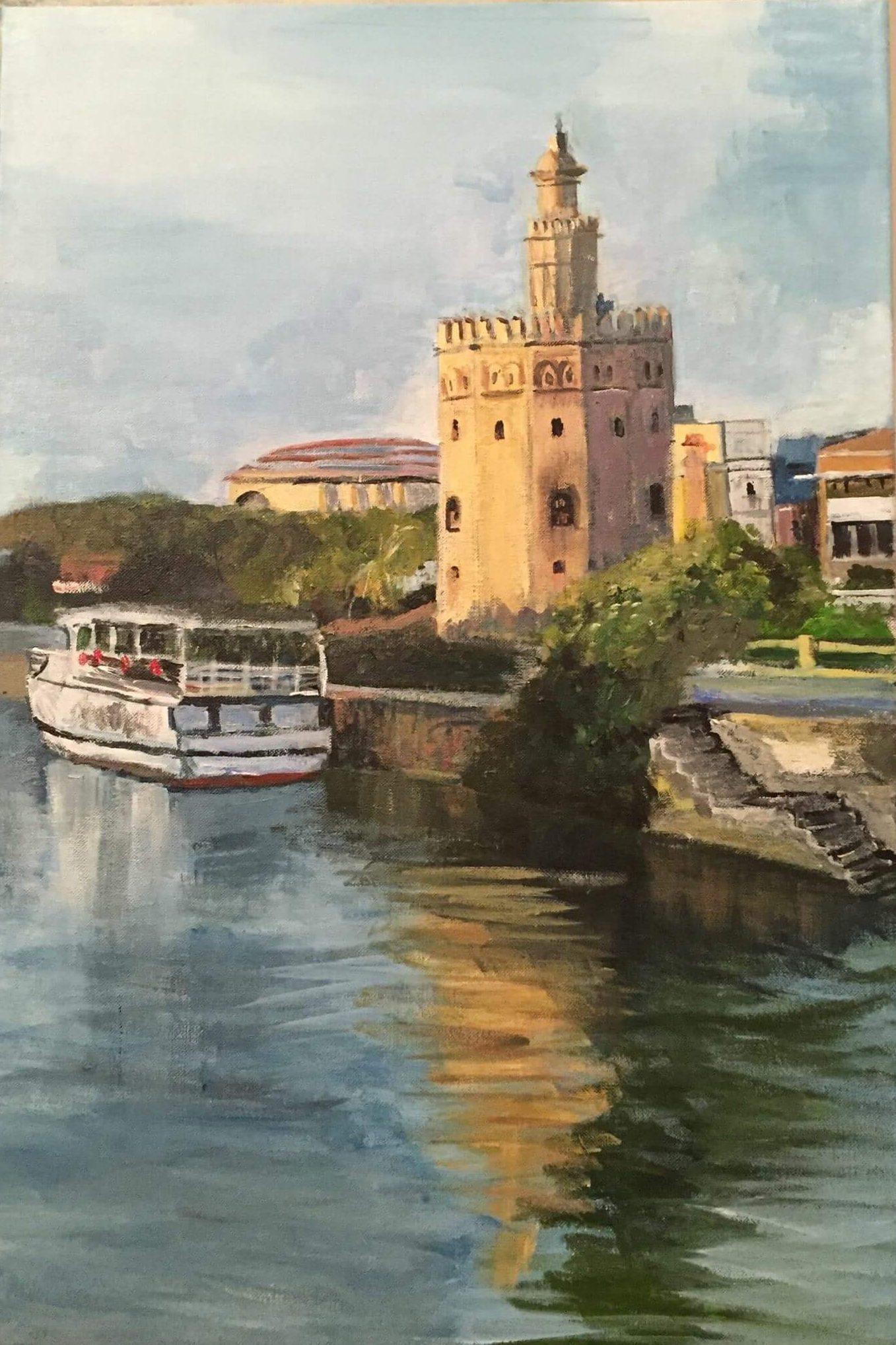Vista de la Torre del Oro, Sevilla pintado por victoria medina profesora de la escuela de dibujo y pintura artemusas