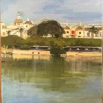 Vista del Guadalquivir, Sevilla pintado por victoria medina profesora de la escuela de dibujo y pintura artemusas