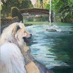 pintura de perro apoyado en la fuente pintado por victoria medina academia artemusas